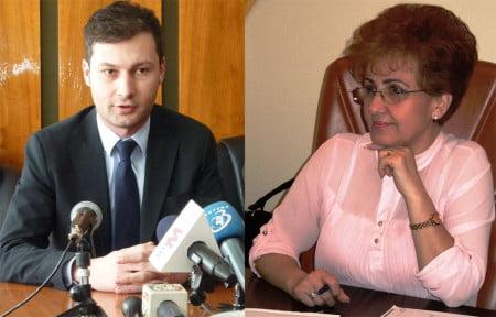 Fostul prefect George Lazăr şi Emilia Arcan, preşedintele CJ Neamţ