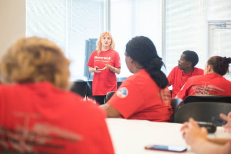 Ambassador Nadia Circu's presentation to Teams Unity and Zarya Day 3 of the Honeywell Educators at Space Academy at the US Space and Rocket Center in Huntsville, Alabama, Saturday, June 18, 2016.