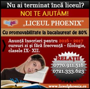 """Oferta educaţională a Liceului """"Phoenix"""" pentru anul şcolar 2016-2017"""