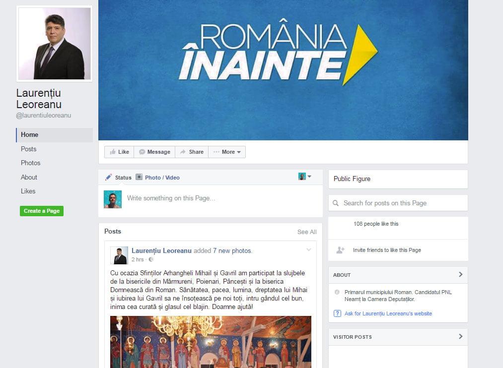 Laurențiu Leoreanu și-a făcut pagină de Facebook