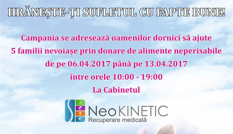 """Cabinetul NeoKINETIC din Roman a lansat campania """"Hrănește-ți sufletul cu fapte bune"""""""