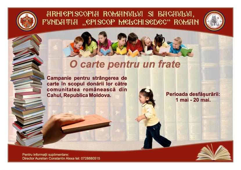 """Fundația """"Episcop Melchisedec"""" a lansat campania """"O carte pentru un frate"""""""
