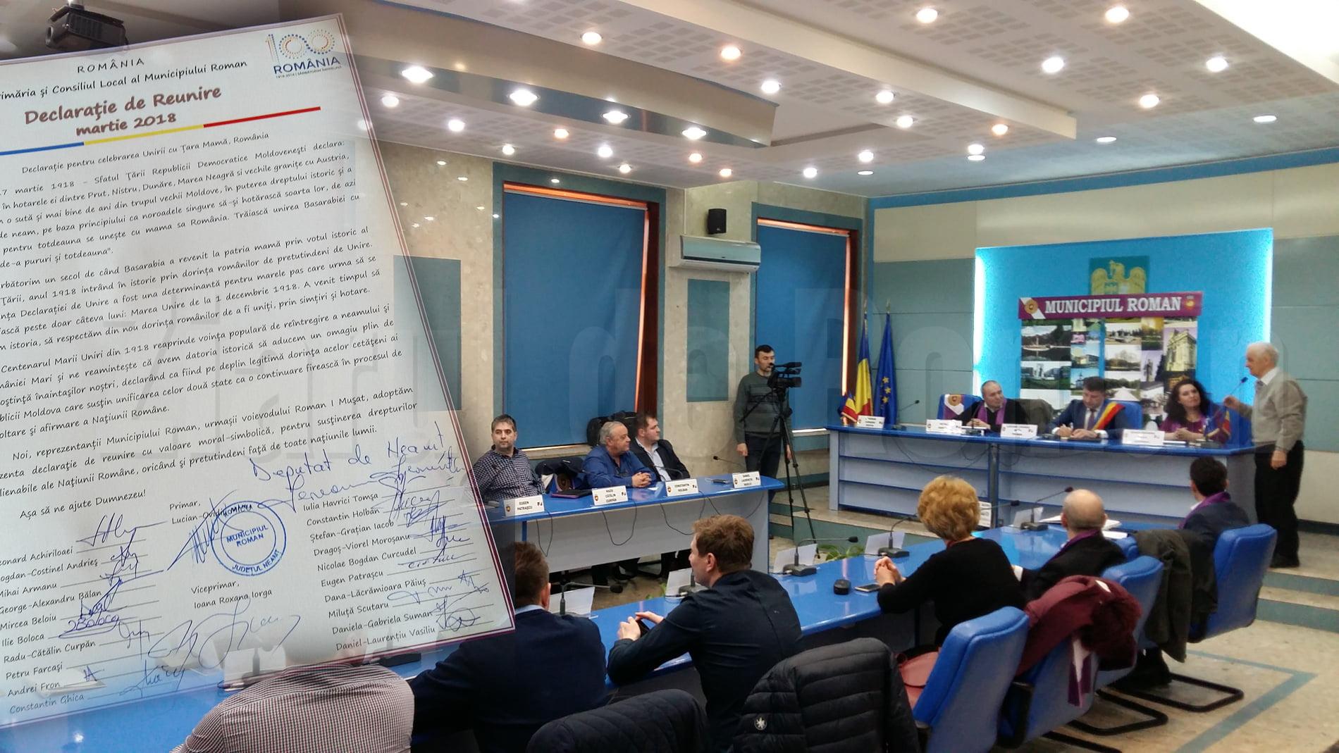 Declarație de reunire a Basarabiei cu România, semnată joi în ședința Consiliului Local Roman