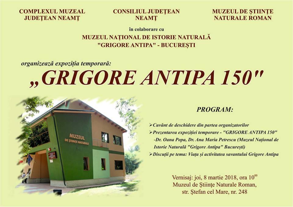 """Expoziţia """"Grigore Antipa 150"""", la Muzeul de Științe Naturale din Roman"""