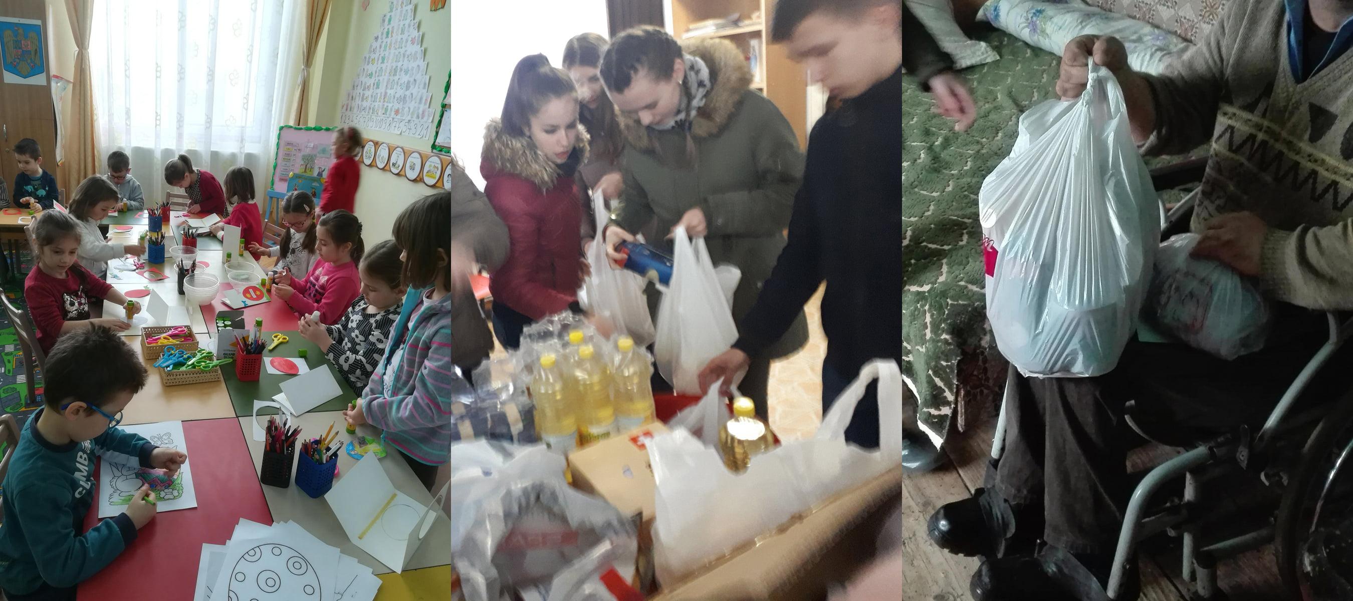 """Proiect educativ """"Ajută un bătrân"""" prin activități de voluntariat, la Săbăoani"""
