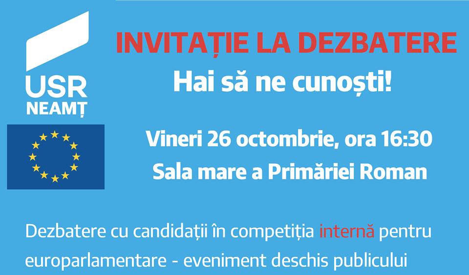 USR Neamț organizează cea mai mare dezbatere din zona Moldovei cu candidați ai partidului la alegerile europarlamentare