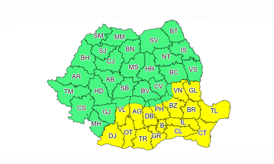 Cod galben de ninsori viscolite, în sudul și sud-estul țării. Vreme geroasă până la finalul săptămânii