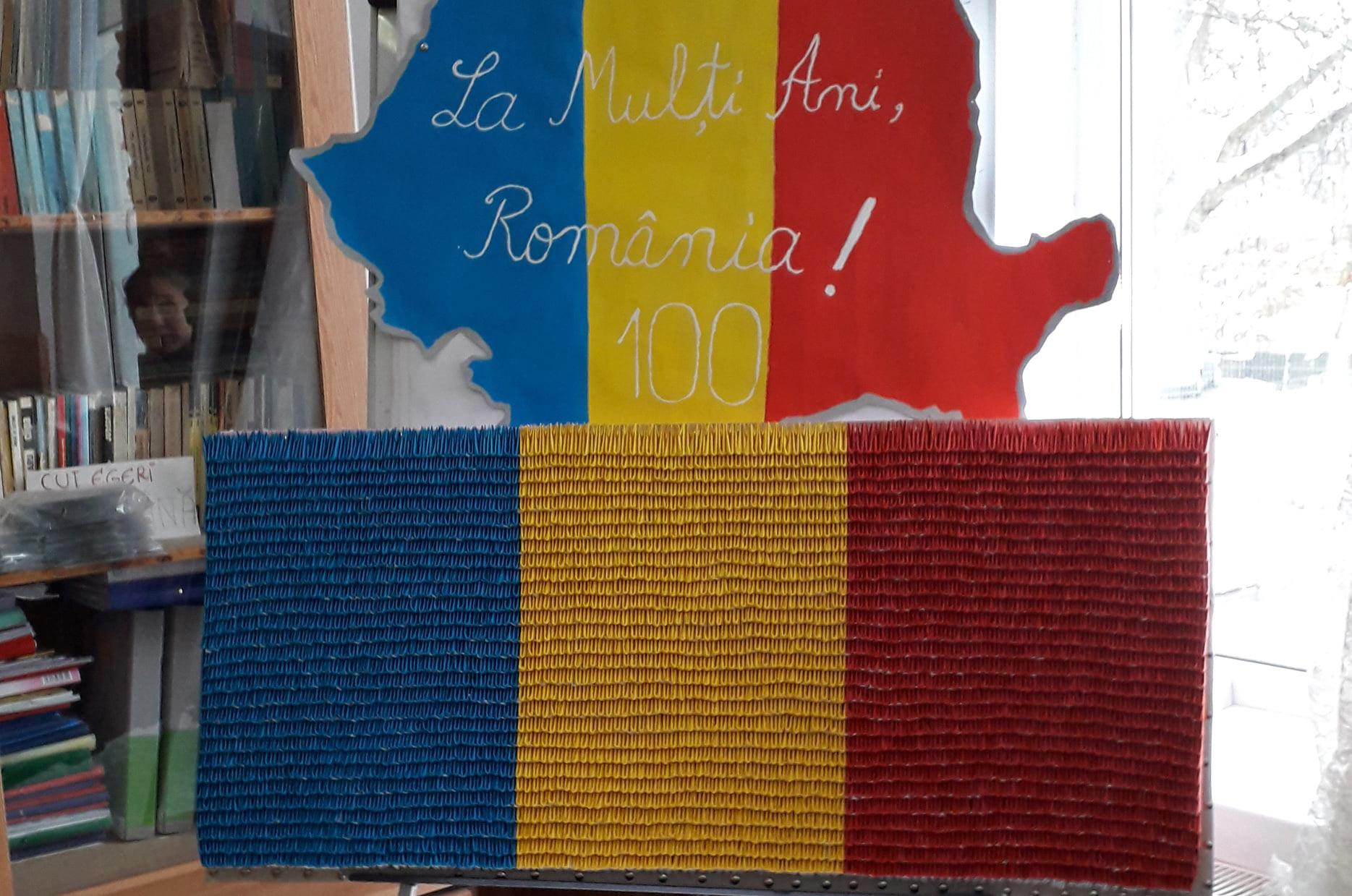 Tricolor din mii de piese de origami, de Centenar, al elevilor Școlii Poienari