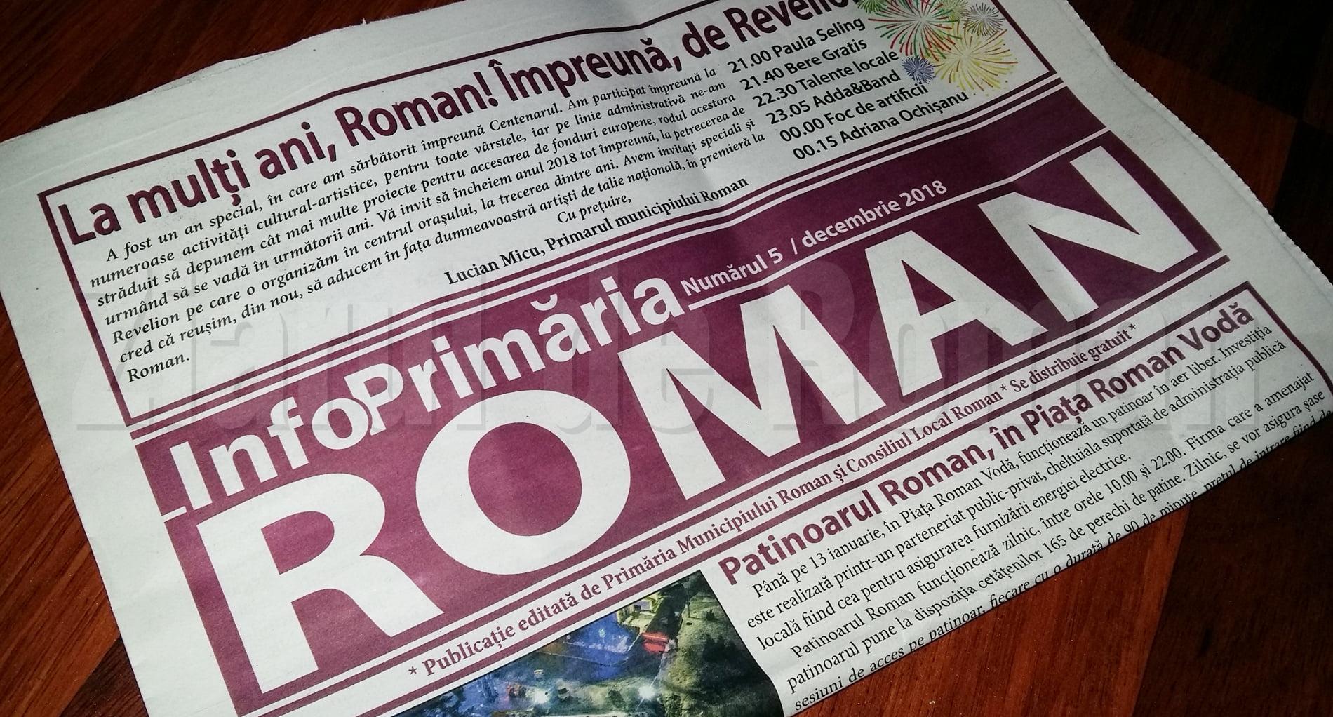 Primăria vrea să editeze ziarul Info Primăria Roman și în 2019