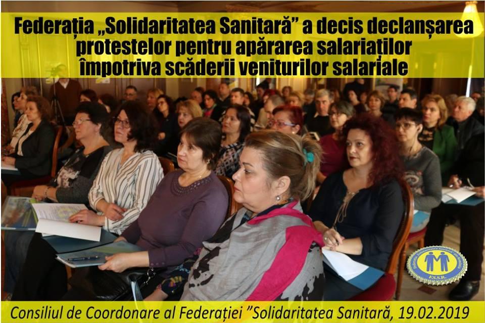"""Federația """"Solidaritatea Sanitară"""" a decis declanșarea protestelor"""
