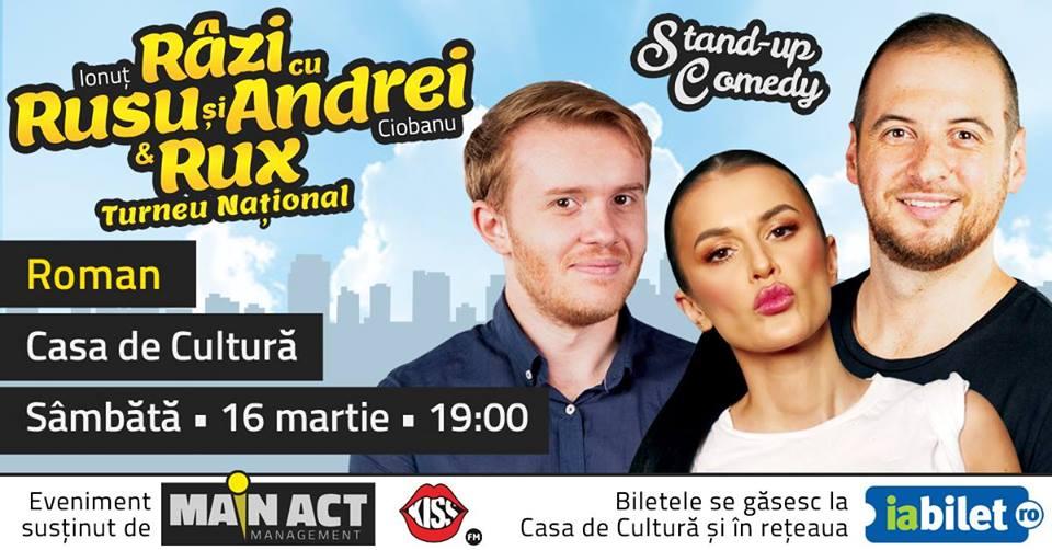 """Turneul național """"Râzi cu Rusu și Andrei & Rux"""", la Casa de Cultură din Roman"""