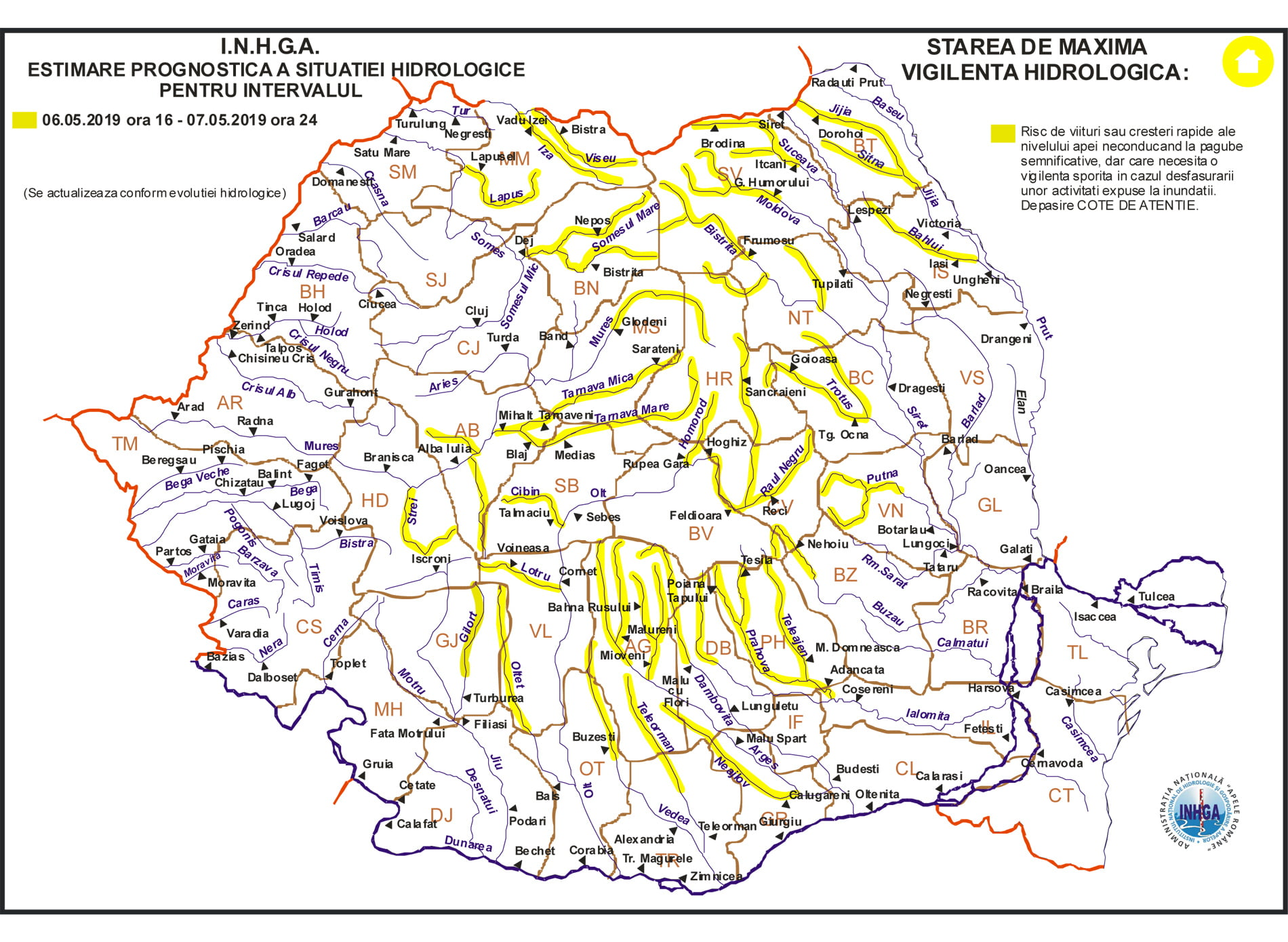 Cod galben de inundații pentru râuri din județele Neamț, Bacău și Suceava