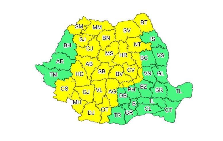 Cod galben de precipitații, de luni până marți dimineață