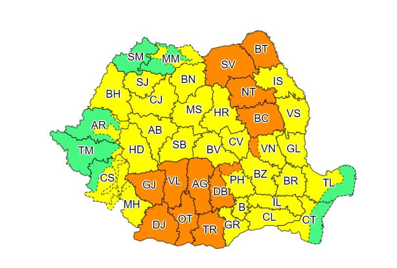 Județul Neamț, sub cod portocaliu de ploi torențiale, vijelii și grindină