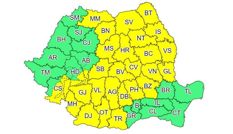 Cod galben de averse și vijelii, luni și marți. Ploi abundente până la finalul săptămânii