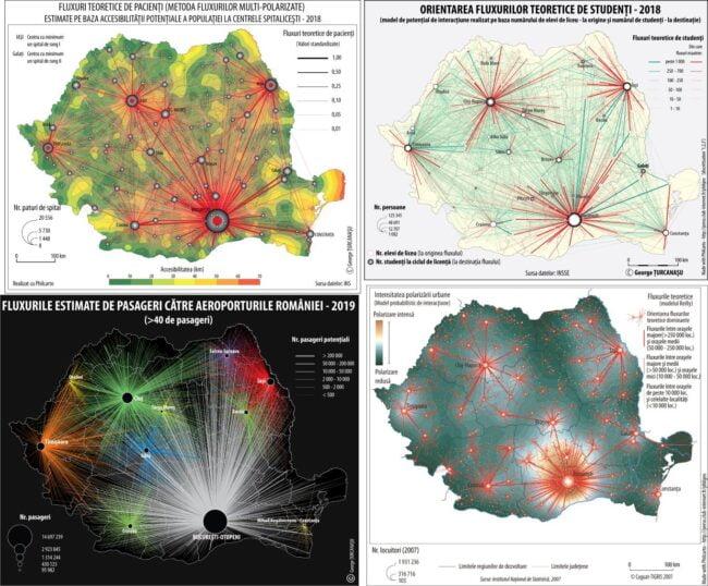 Fig. 2: Structurile teritoriale teoretice ale unor servicii şi intensitatea polarizării urbane