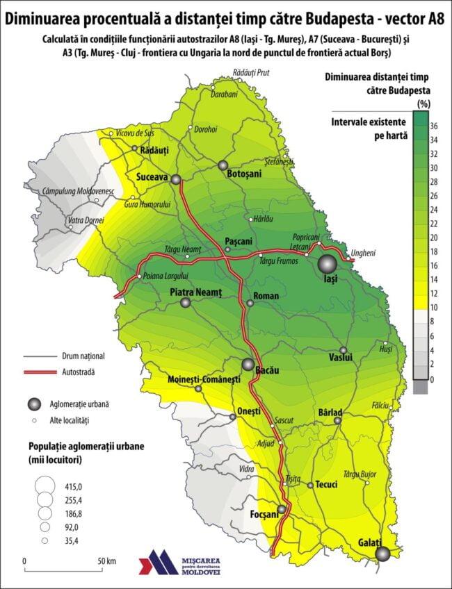 Diminuarea procentuală a distanței-timp către Budapesta – vector A8 (Autor: George Ţurcanaşu)