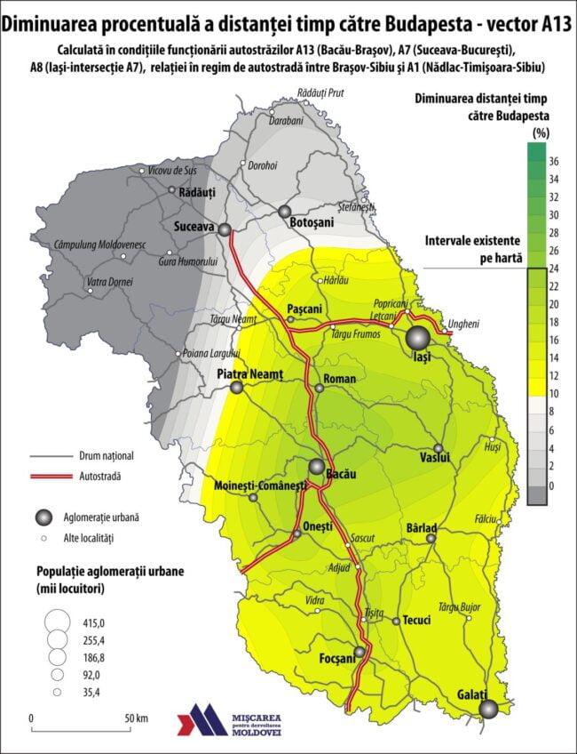Diminuarea procentuală a distanței-timp către Budapesta – vector A13 (Autor: George Ţurcanaşu)