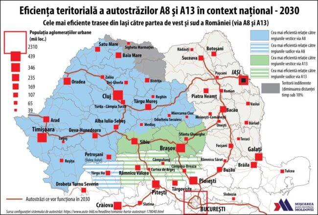 Cele mai eficiente trasee din Iaşi către partea de vest şi de sud a României (via A8 şi A13) (Autor: George Ţurcanaşu)