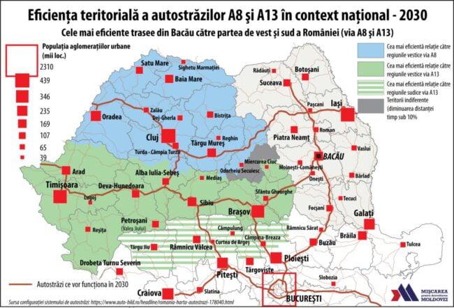 Cele mai eficiente trasee din Bacău către partea de vest şi de sud a României (via A8 şi A13) (Autor: George Ţurcanaşu)