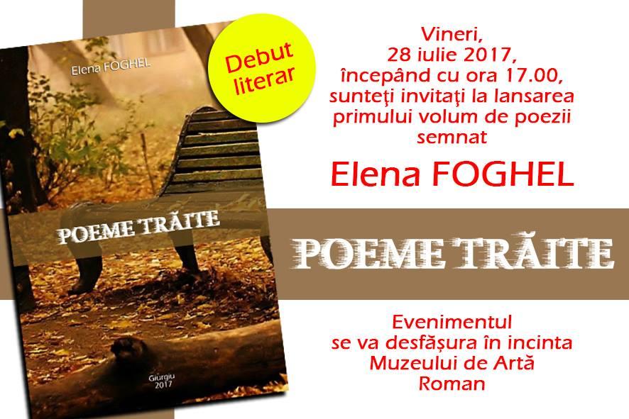 """Lansare de carte: Elena Foghel – """"Poeme trăite"""""""
