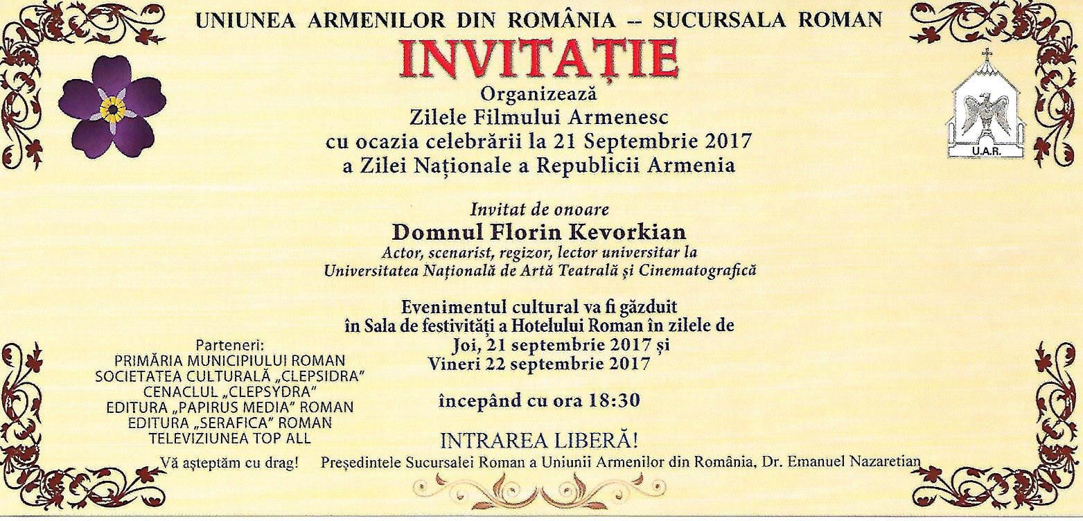 Zilele Filmului Armenesc, în această săptămână la Roman