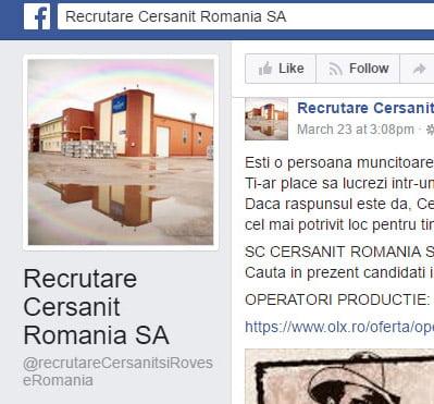 Cersanit și Rovese România recrutează pe Facebook