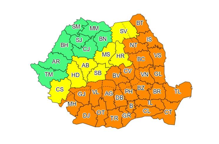 Cod portocaliu de caniculă, în județul Neamț. Sâmbătă se așteaptă temperaturi de 40 de grade