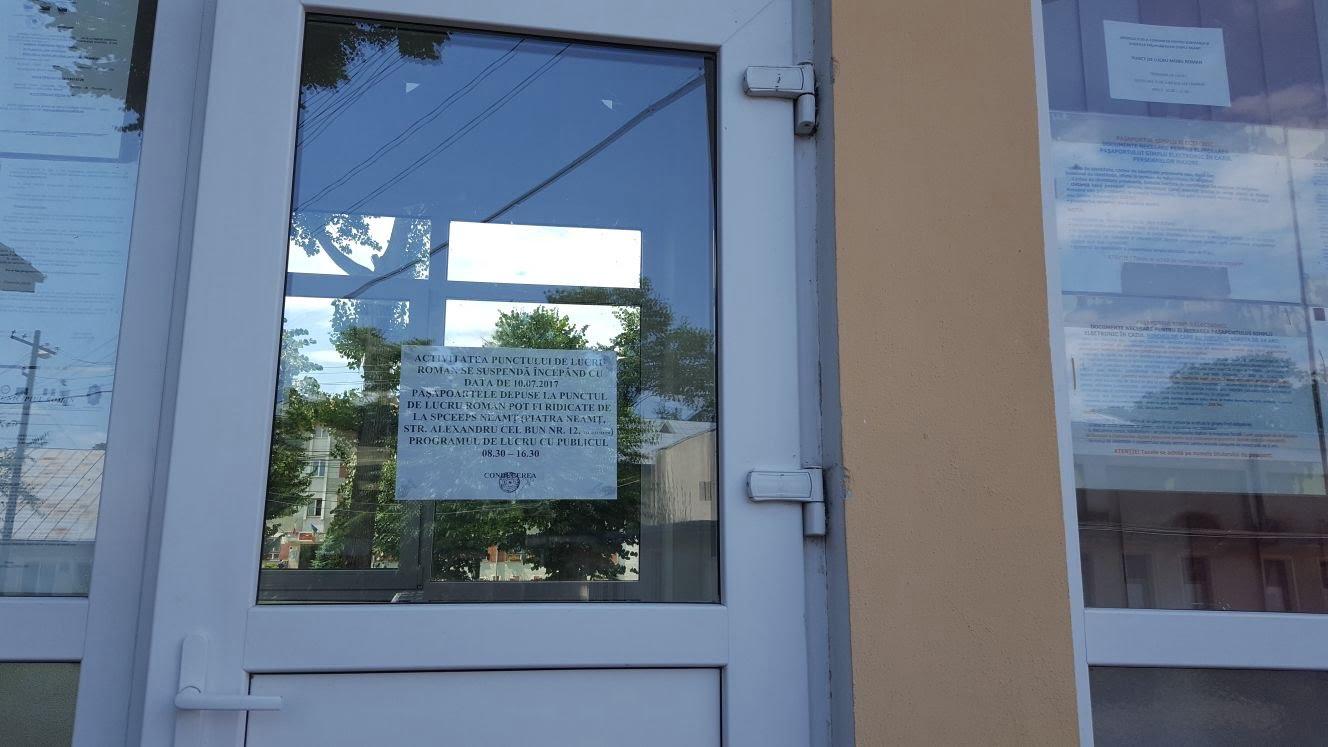 Activitatea Biroului de pașapoarte de la Roman se suspendă de pe 10 iulie