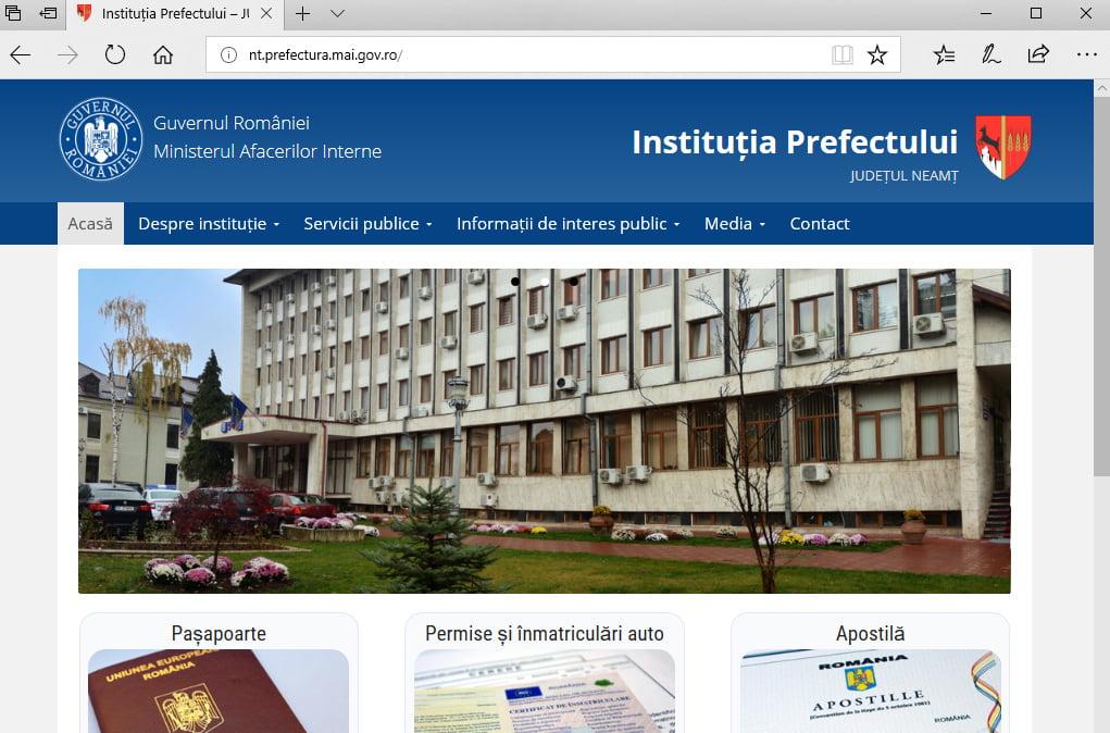 Pagină de internet nouă pentru Prefectura Neamț