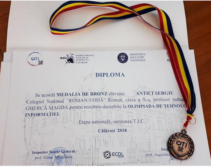 """Elev al Colegiului Național """"Roman-Vodă"""", medaliat la Olimpiada Națională de Tehnologia Informaţiei"""