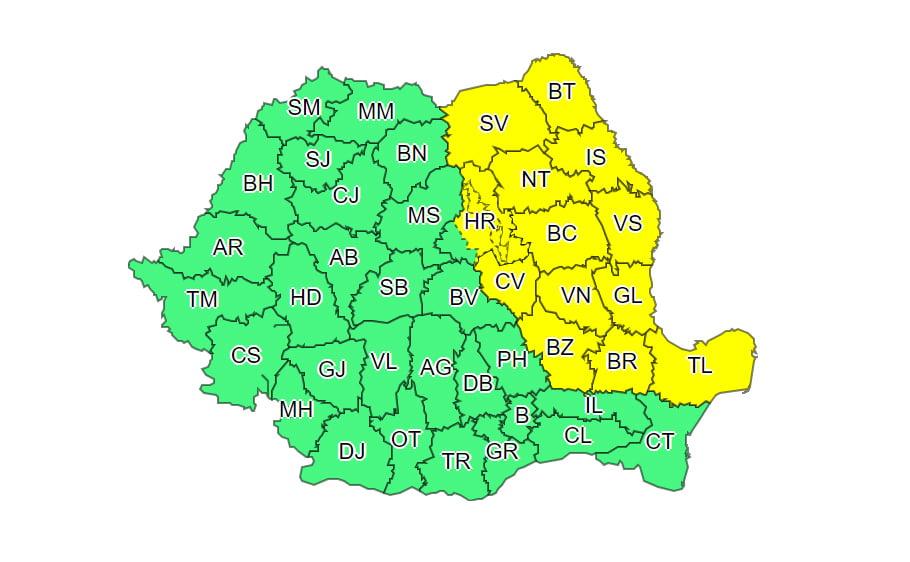 Actualizare meteo: ninsorile continuă în zona Moldovei până miercuri