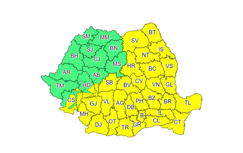 Cod galben de ninsoare, lapoviță și ploaie, până luni seară