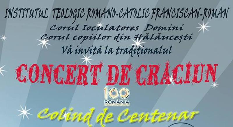 """Concert de Crăciun """"Colind de centenar"""", la Institutul Teologic Franciscan din Roman"""