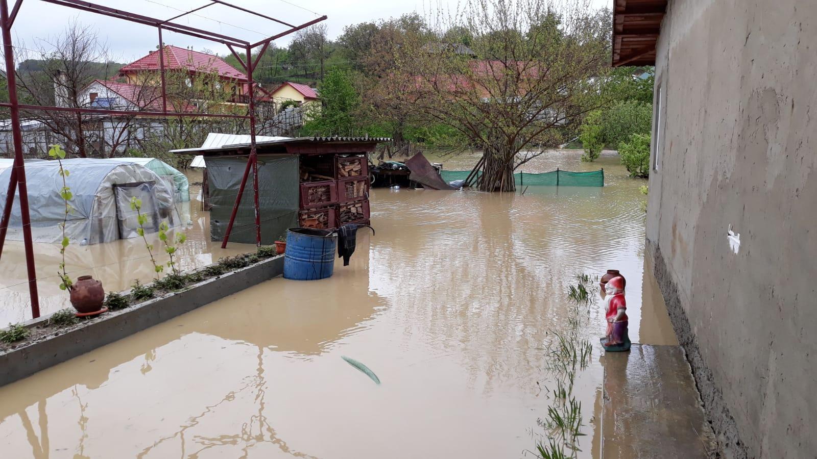 Case și curți inundate în comunele Bozieni, Oniceni și Ion Creangă