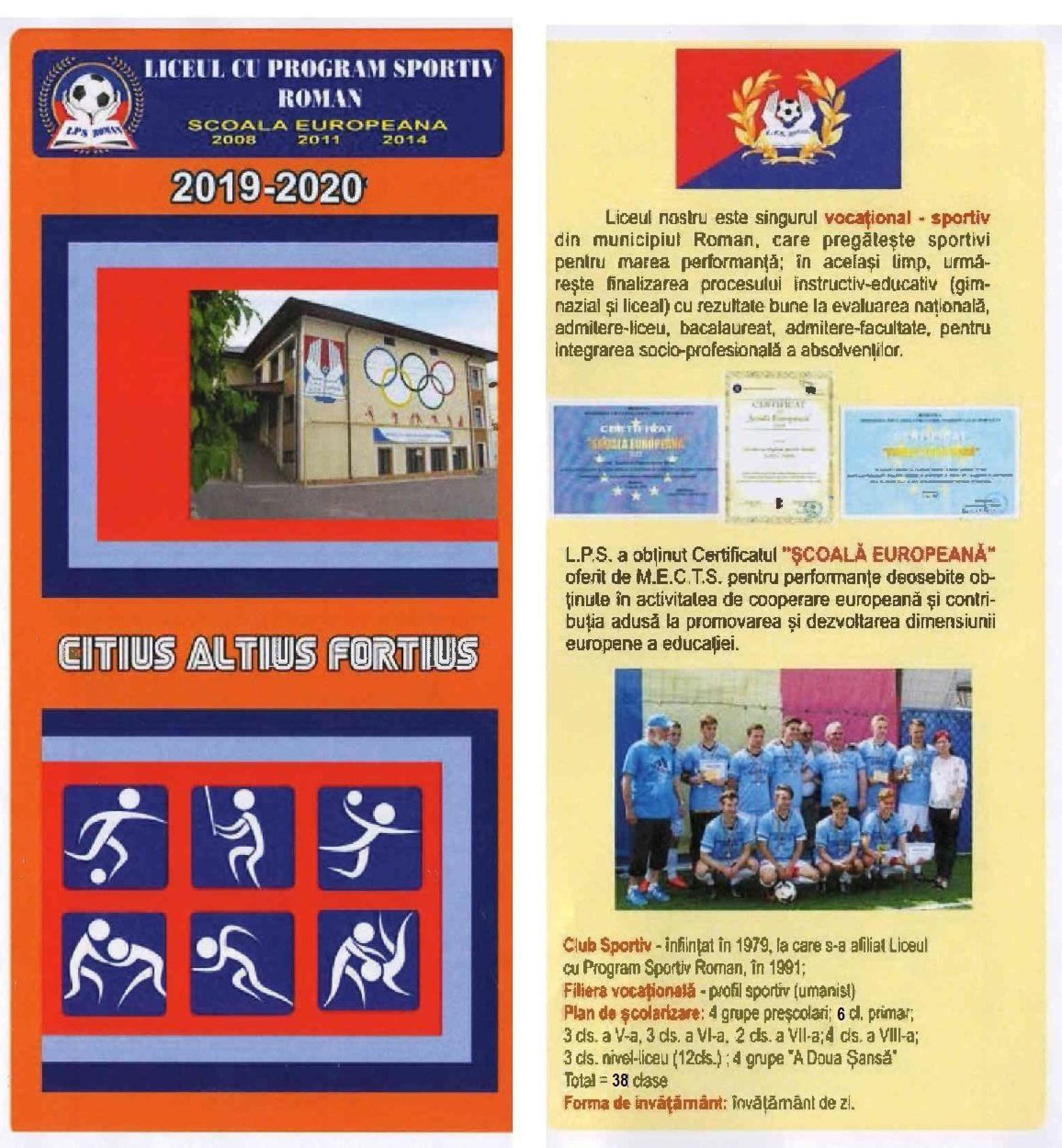 Oferta educaţională a Liceului cu Program Sportiv Roman pentru anul şcolar 2019 – 2020