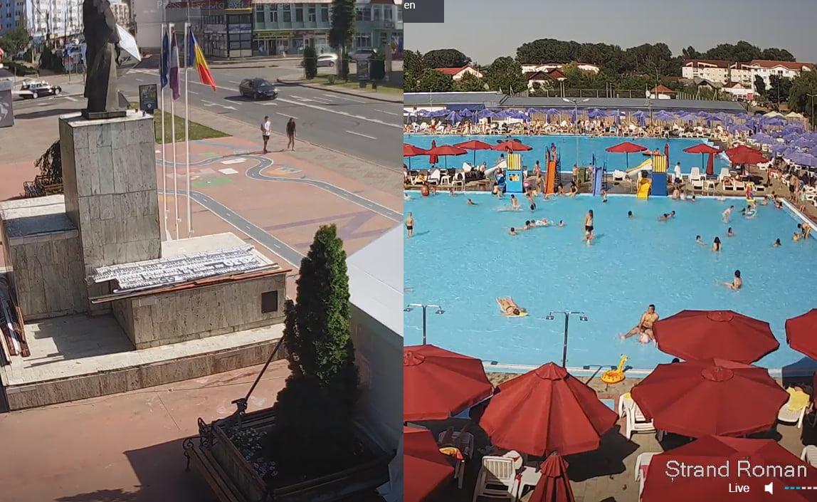 Imagini video live din centrul orașului, din Ștrand și din Parc
