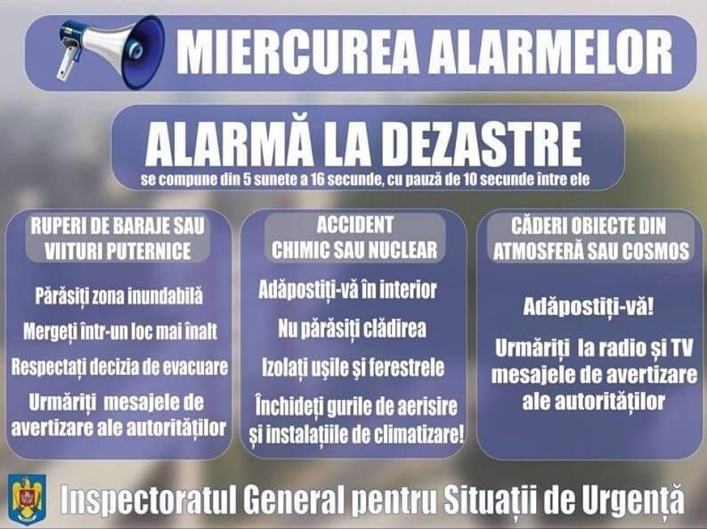 Miercurea Alarmelor – exercițiu de înștiințare, avertizare și alarmare în situații de urgență