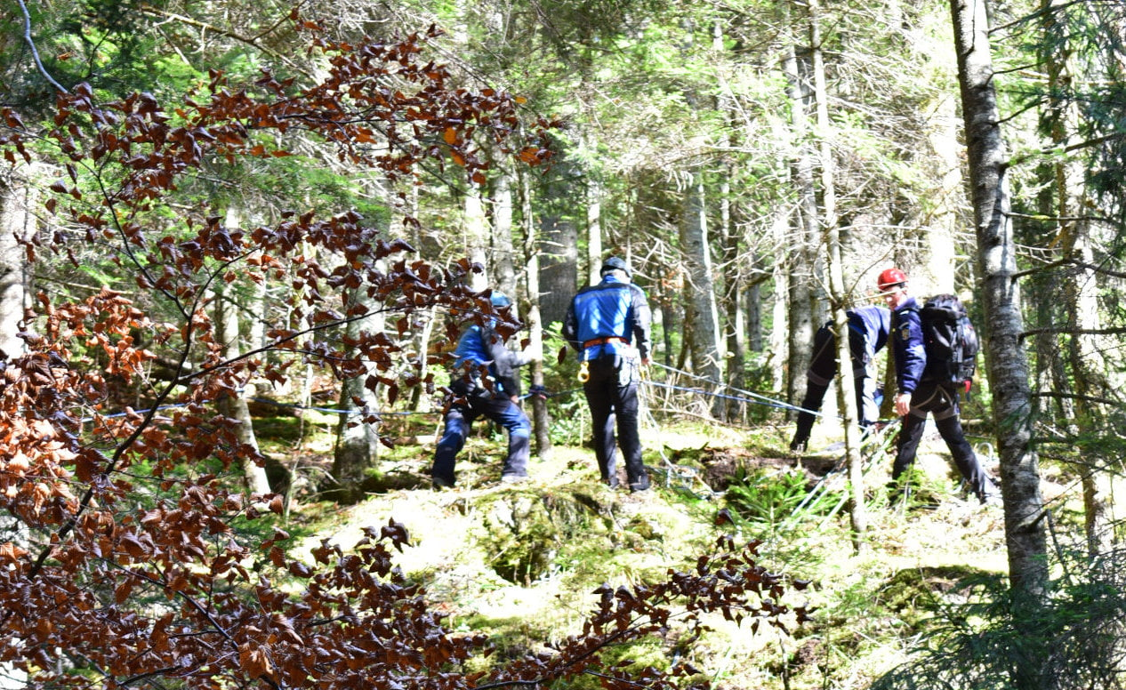 Turiști străini coborâți de pe stânci, exercițiu al jandarmilor montani nemțeni
