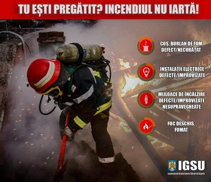 Avertismentul pompierilor: atenție la coșurile de fum și instalațiile de încălzire în sezonul rece!