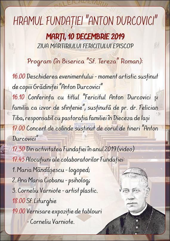 """Fundaţia """"Anton Durcovici"""" îşi sărbătorește hramul"""