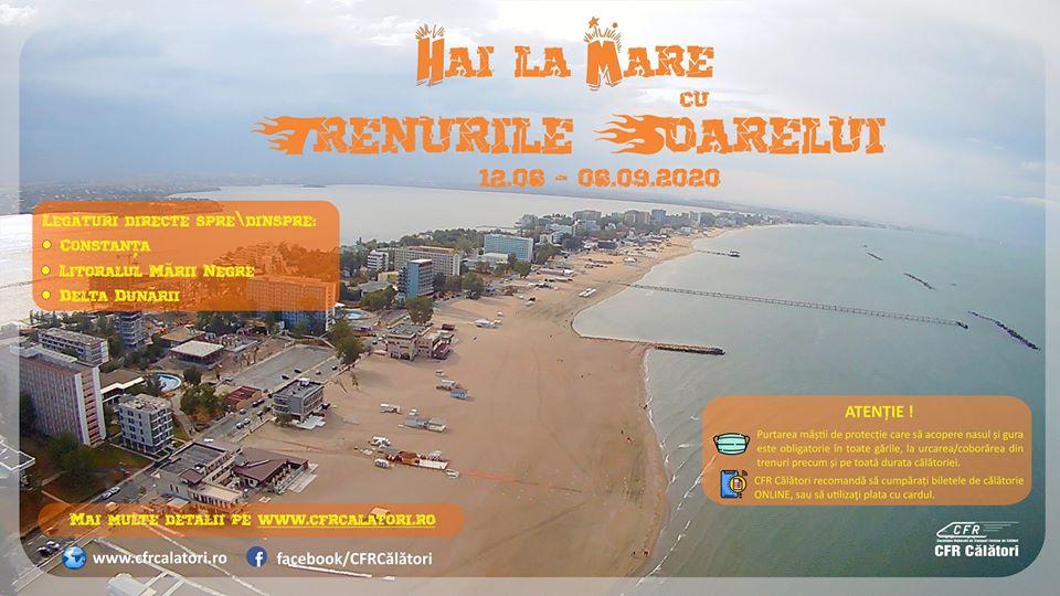 """CFR Călători începe programul estival de transport """"Trenurile Soarelui"""", către litoral"""
