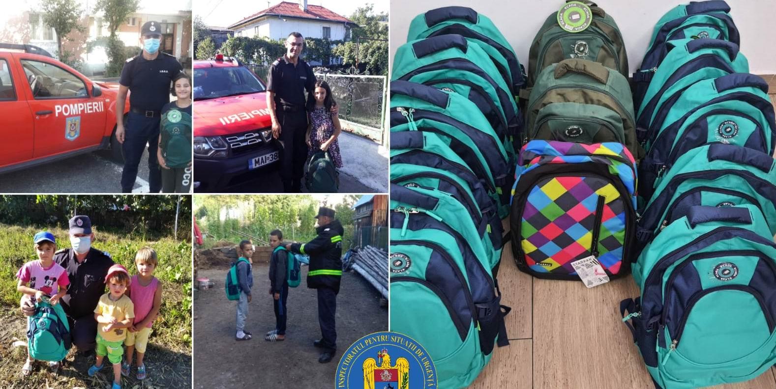 Pompierii au oferit rechizite copiilor nevoiași