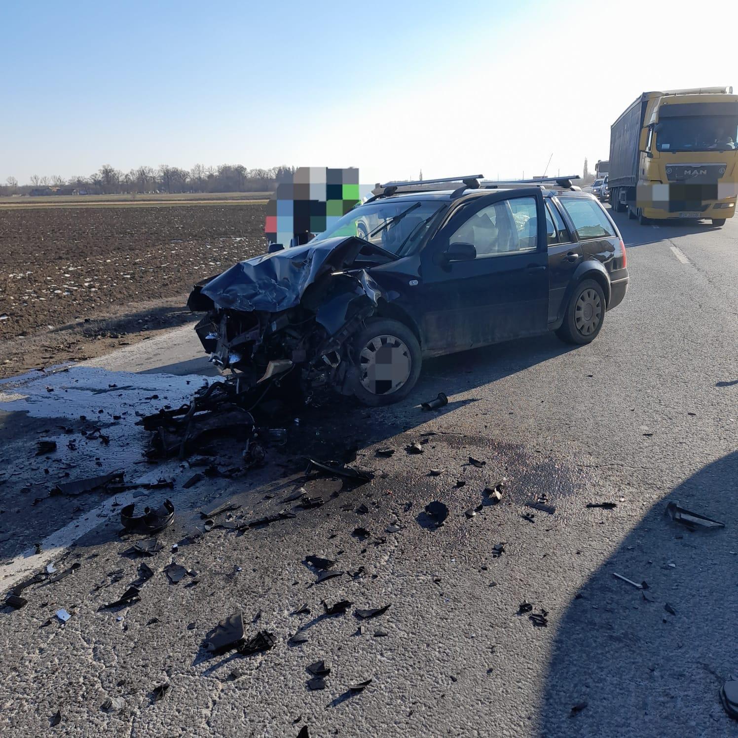 Accident rutier pe E 85 la Horia