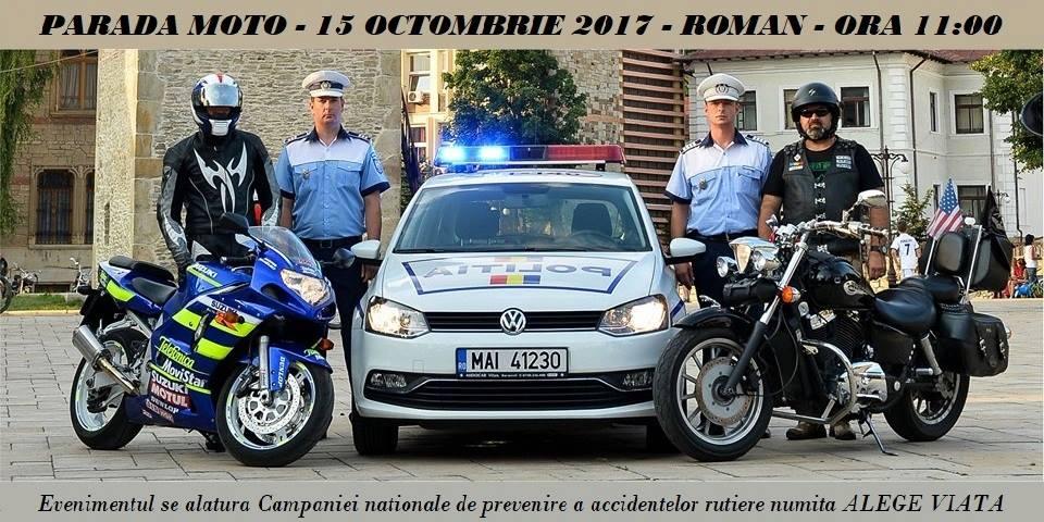 Paradă a motocicliștilor la Roman, într-o campanie de prevenire a accidentelor rutiere