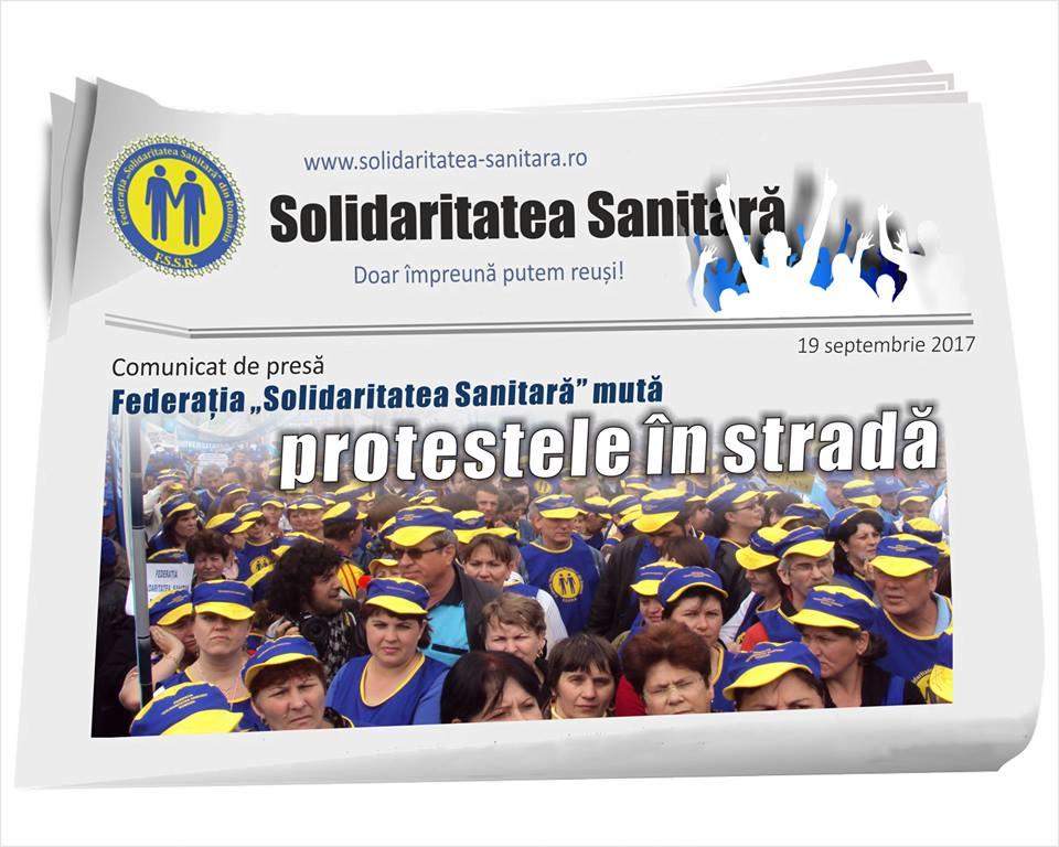 """Federația """"Solidaritatea Sanitară"""" mută protestele în stradă"""